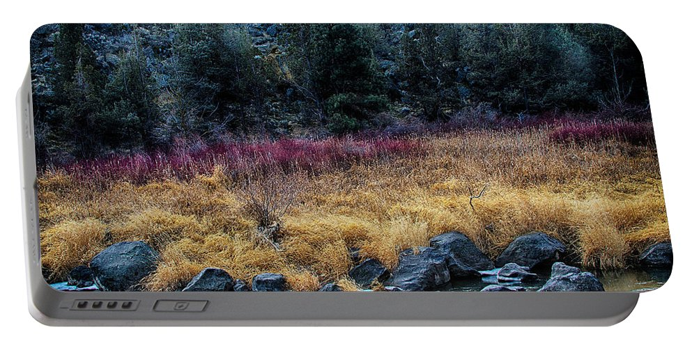 Landscape Portable Battery Charger featuring the photograph Crooked River At Smith Rock by Robert Woodward