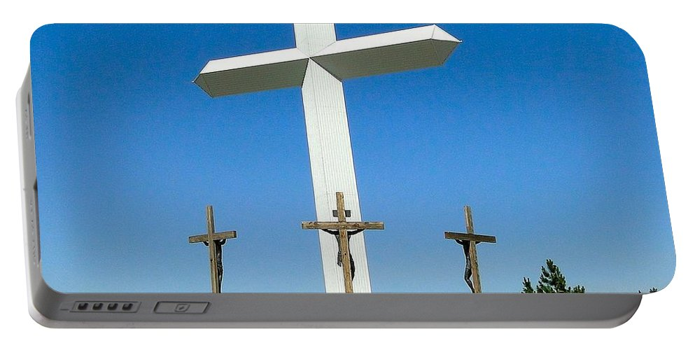 Large Cross Portable Battery Charger featuring the photograph Cross 190 Ft Tall by Cynthia Croal