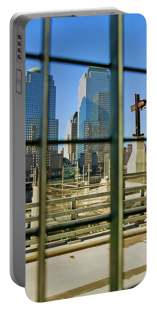 Photography Portable Battery Charger featuring the photograph Cross At World Trade Towers Memorial by Panoramic Images
