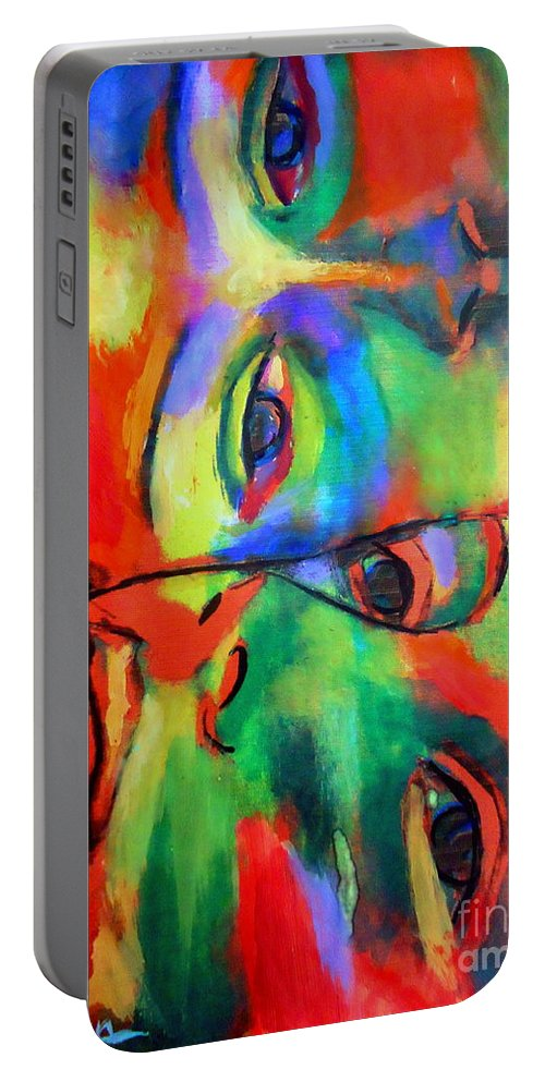 Contemporary Art Portable Battery Charger featuring the painting Cross-circuiting Emotions by Helena Wierzbicki