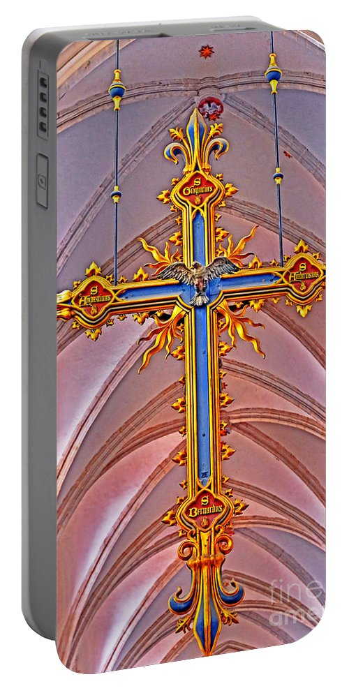 Travel Portable Battery Charger featuring the photograph Cross Of Church Of Our Lady by Elvis Vaughn