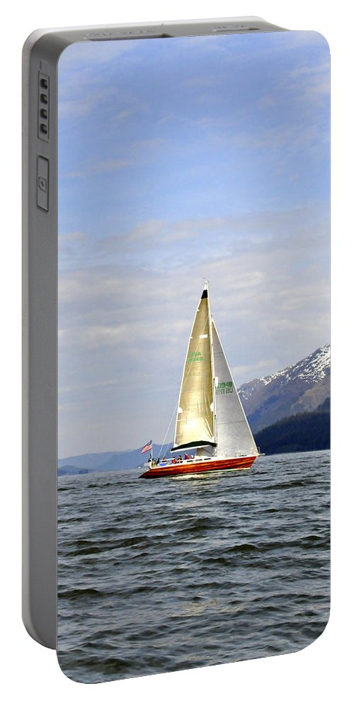 Sail Portable Battery Charger featuring the photograph Cross Sound Sailboat by Cathy Mahnke