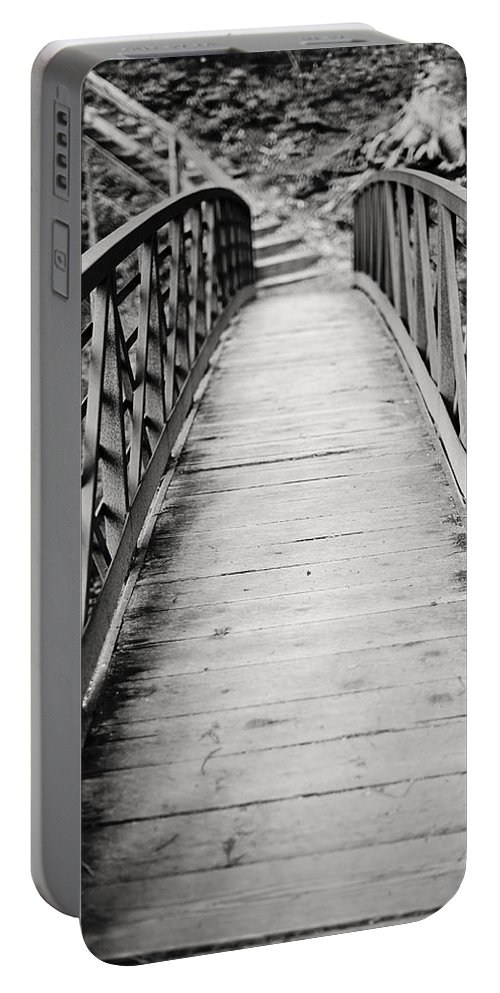 Crossing Over Portable Battery Charger featuring the photograph Crossing Over - Black And White by Terry DeLuco