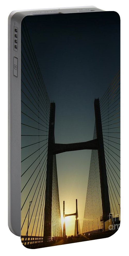 Crossing Portable Battery Charger featuring the photograph Crossing The Severn Bridge At Sunset - Cardiff - Wales by Vicki Spindler