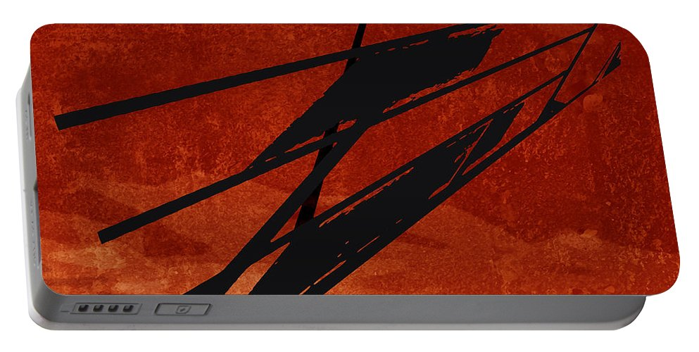 Red Portable Battery Charger featuring the digital art Crossroads by Ken Walker
