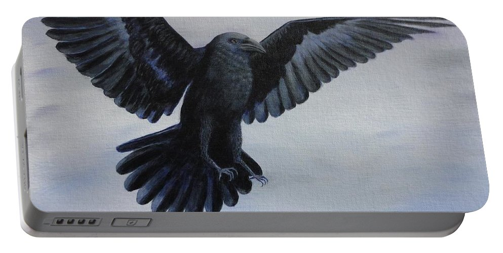 Xochi Hughes Madera Portable Battery Charger featuring the painting Crow Flight by Xochi Hughes Madera