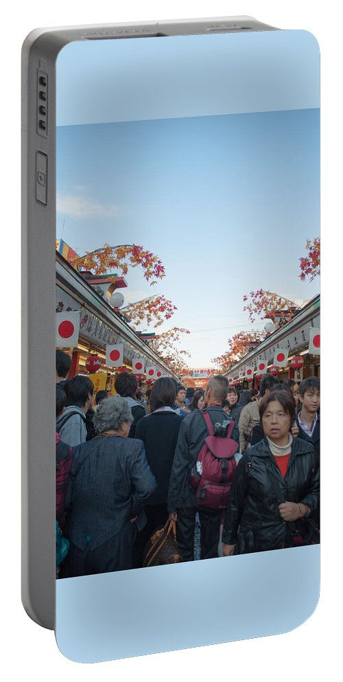 Asakusa Portable Battery Charger featuring the photograph Crowds Shopping by Jill Mitchell