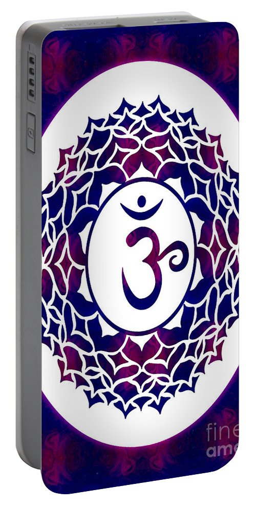 Crown Chakra Portable Battery Charger featuring the digital art Crown Chakra Abstract Spiritual Artwork By Omaste Witkowski by Omaste Witkowski