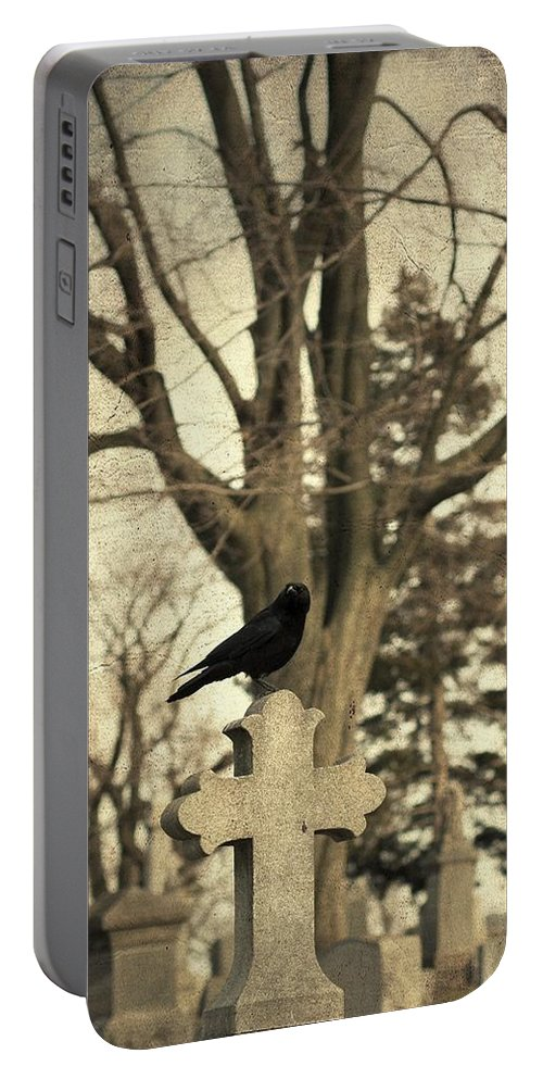 Old Graveyard Crow Portable Battery Charger featuring the photograph Crow's Cross by Gothicrow Images