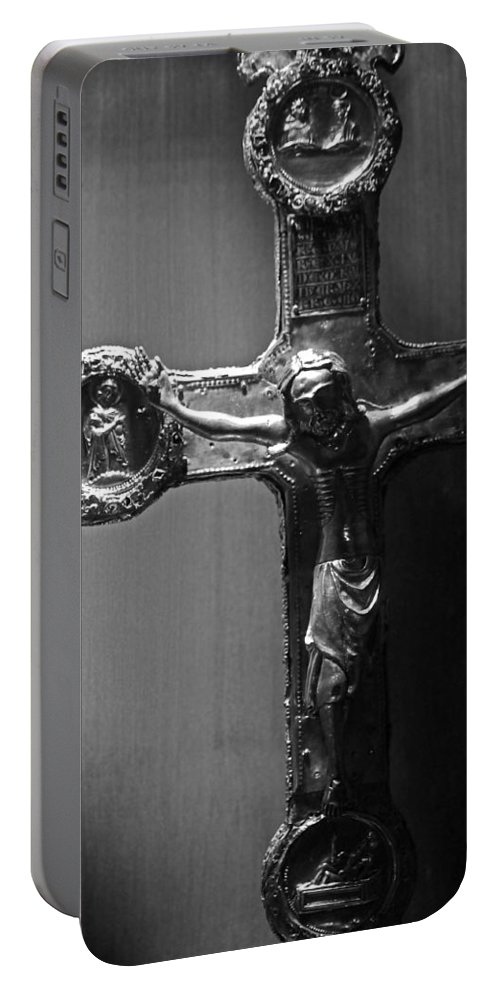 Crucifix Portable Battery Charger featuring the photograph Crucifix Illuminated by Michael Saunders