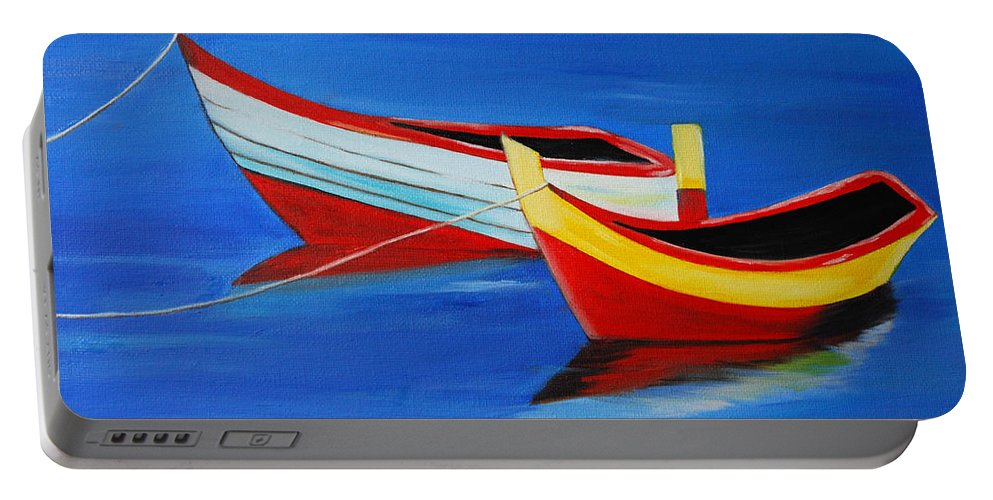 Boats Portable Battery Charger featuring the painting Cruising On A Bright Sunny Day by Sonali Kukreja