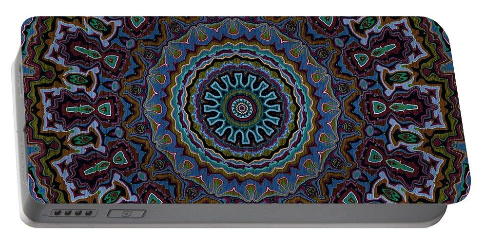 Mandala Portable Battery Charger featuring the digital art Crushed Blue Velvet Kaleidoscope by Joy McKenzie