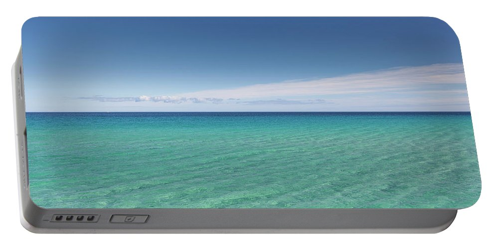 Canary Island Portable Battery Charger featuring the photograph Crystal Blue Water With Nobody, No by Mauro Ladu