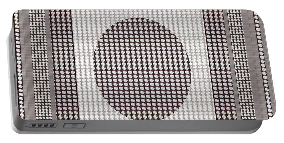 Crystal Portable Battery Charger featuring the mixed media Crystal White And Gray Dots Design Pattern Shade Deco Decoration by Navin Joshi