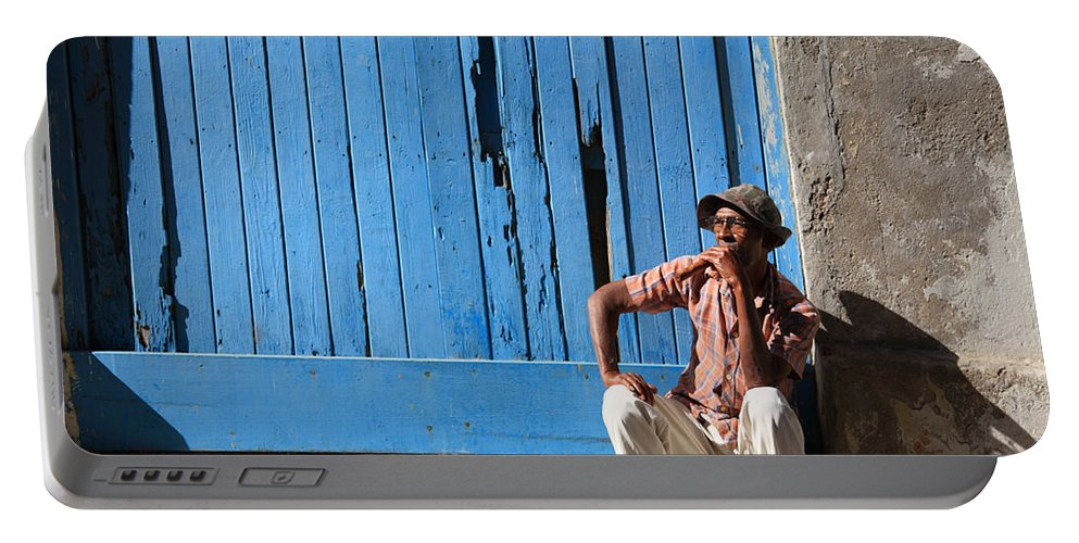 Black Portable Battery Charger featuring the photograph Cuban Man And His Cigar by Deborah Benbrook