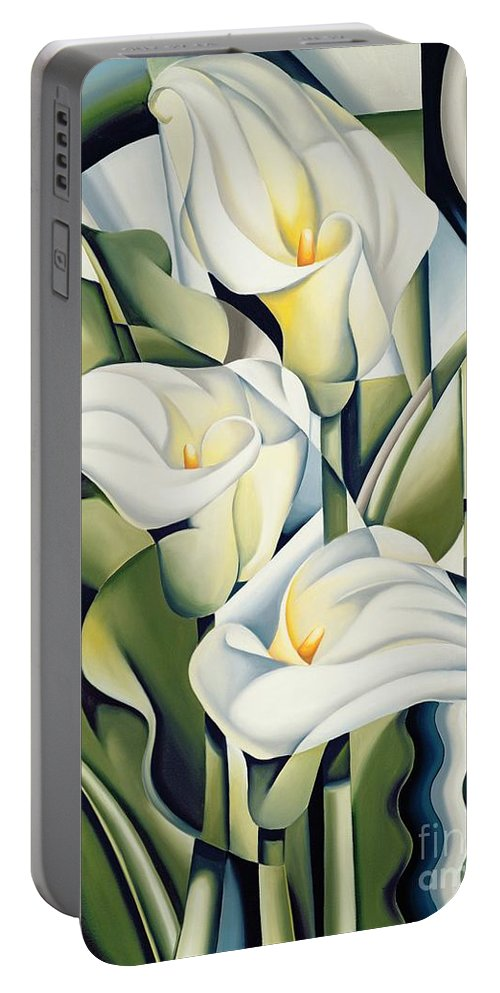 Cubist Portable Battery Charger featuring the painting Cubist Lilies by Catherine Abel