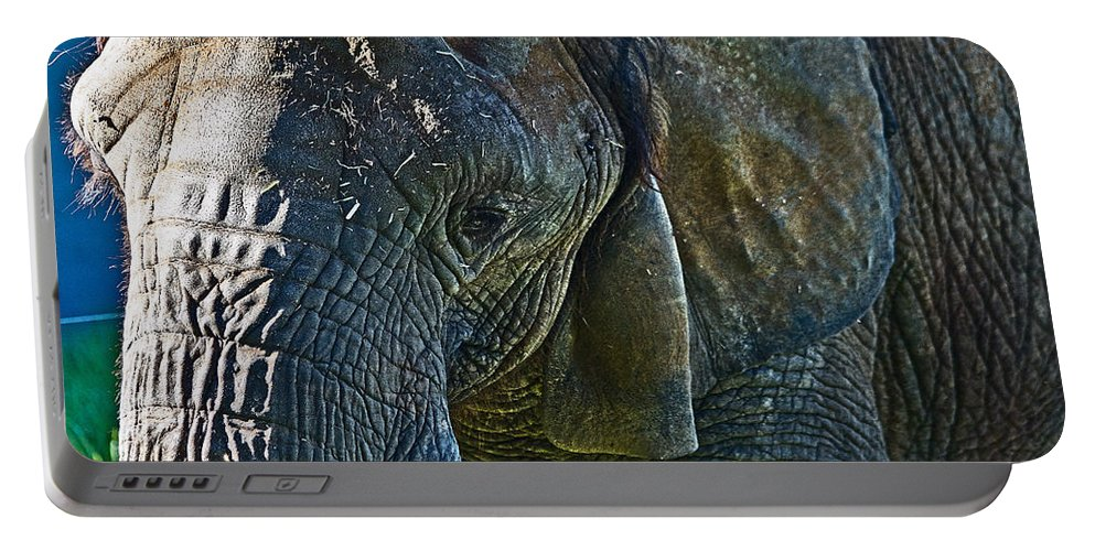 #elephant Portable Battery Charger featuring the photograph Cuddles In Search by Miroslava Jurcik