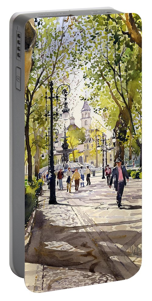 Cuesta Genil Portable Battery Charger featuring the painting Cuesta Genil by Margaret Merry
