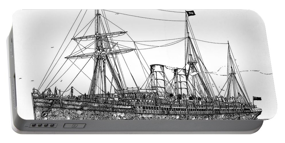Rms Umbria Portable Battery Charger featuring the drawing Cunard Liner Umbria 1880's by Ira Shander
