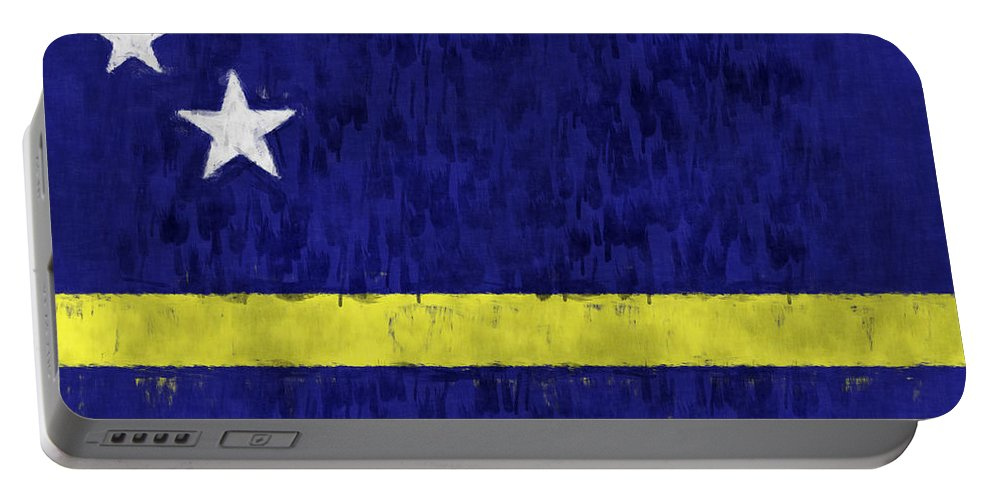 Aruba Portable Battery Charger featuring the digital art Curacao Flag by World Art Prints And Designs