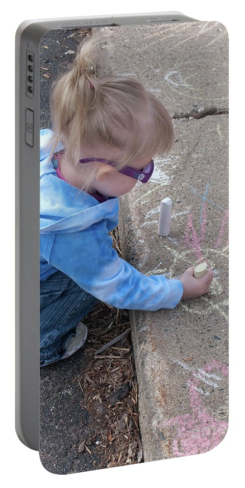 Child Portable Battery Charger featuring the photograph Curbside Artist by Ann Horn