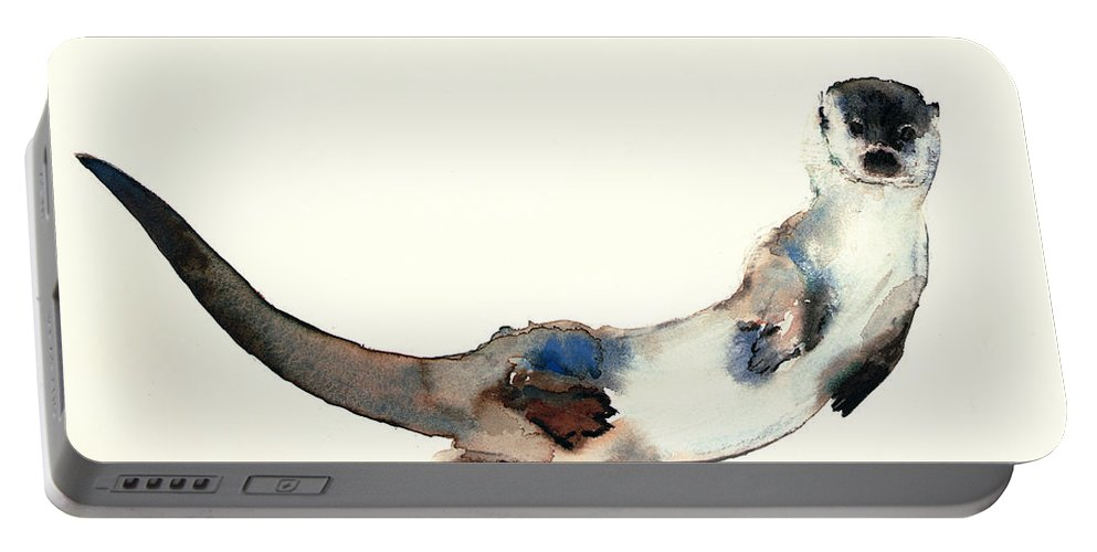 Otter Portable Battery Charger featuring the painting Curious Otter by Mark Adlington
