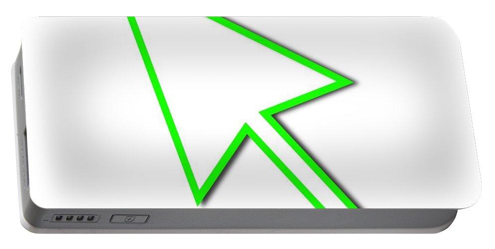 Arrow Portable Battery Charger featuring the digital art Cursor Arrow Mouse Green Line by Henrik Lehnerer