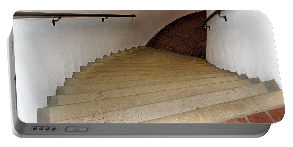Curved Portable Battery Charger featuring the photograph Curved Stairway At Brandywine River Museum by Karen Adams