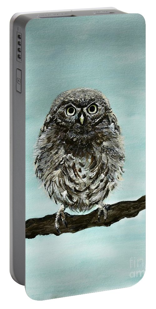 Owl Portable Battery Charger featuring the painting Cute Baby Owl by Leslie Allen
