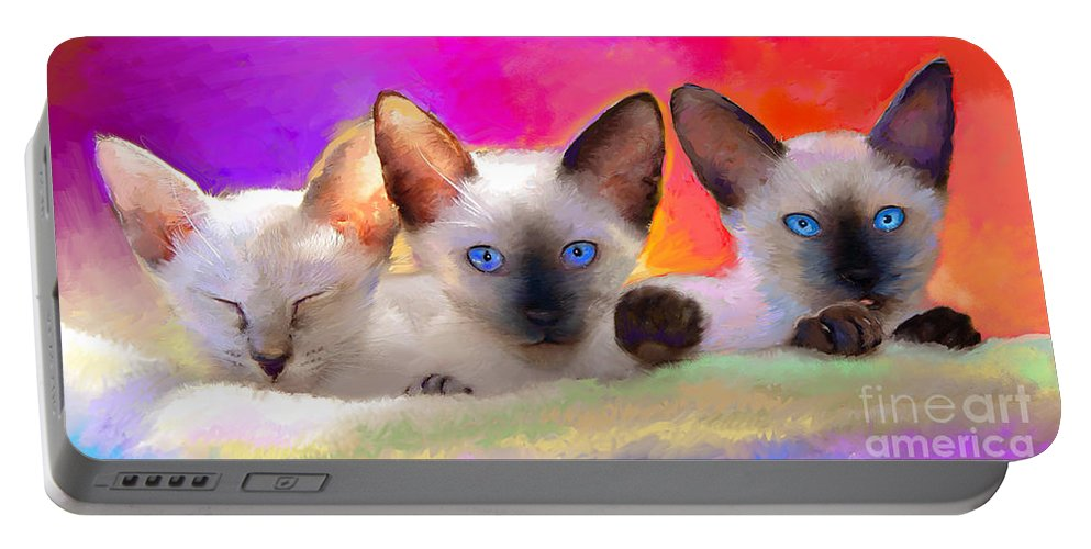 Animal Art Portable Battery Charger featuring the painting Cute Siamese Kittens Cats by Svetlana Novikova