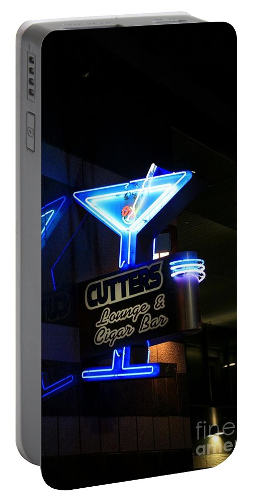 Cutters Lounge And Cigar Bar Neon Sign. Portable Battery Charger featuring the photograph Cutters Lounge And Cigar Bar by Robert Loe