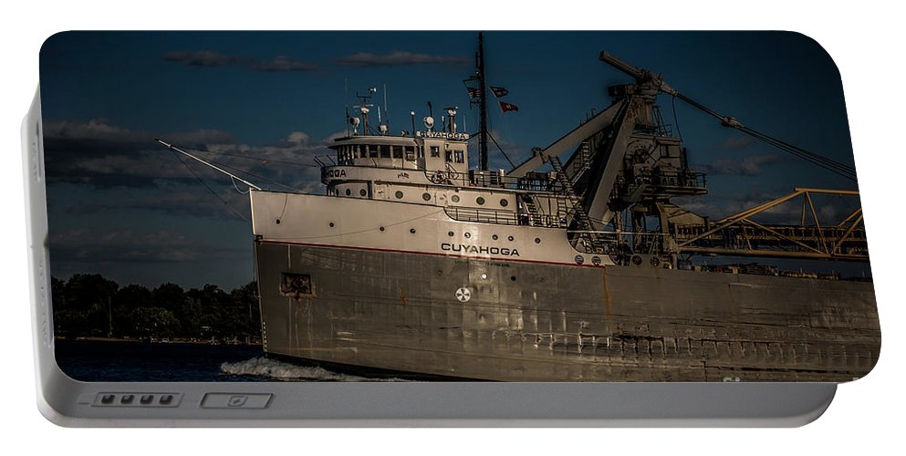 Ship Portable Battery Charger featuring the photograph Cuyahoga by Ronald Grogan