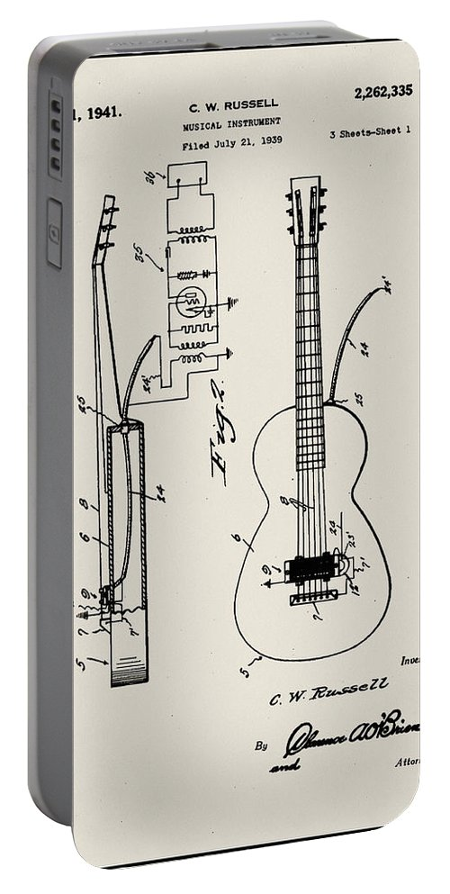 Cw Russell Portable Battery Charger featuring the digital art Cw Russell Acoustic Electric Guitar Patent 1939 by Bill Cannon