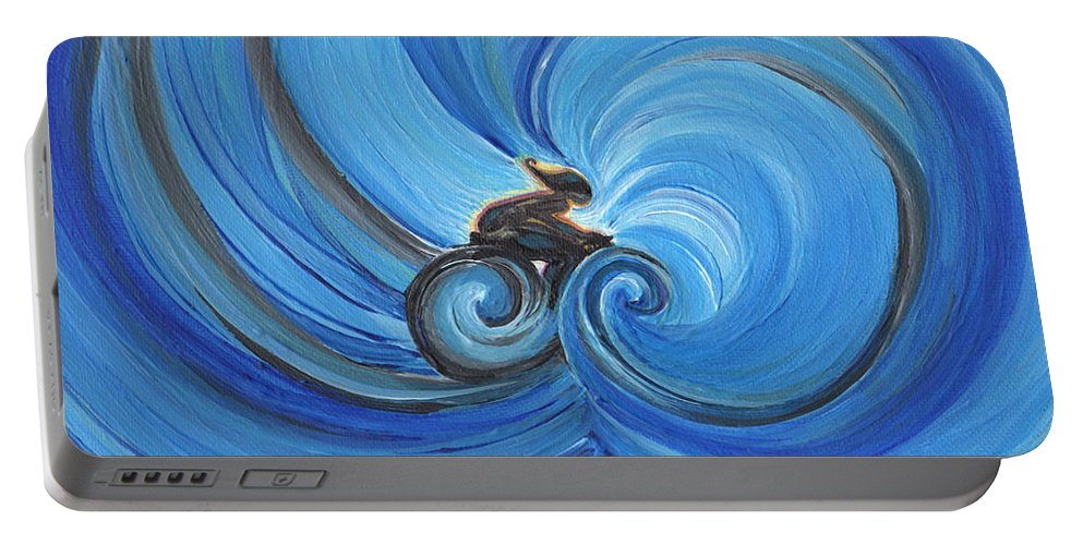 First Star Art Portable Battery Charger featuring the painting Cycle By Jrr by First Star Art