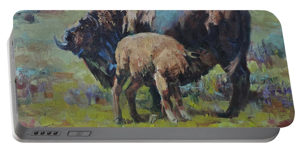 Bison Portable Battery Charger featuring the painting Cycles by Mia DeLode
