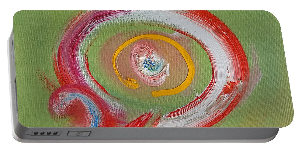 Fair Ground Portable Battery Charger featuring the painting Cyclone Ride by Charles Stuart