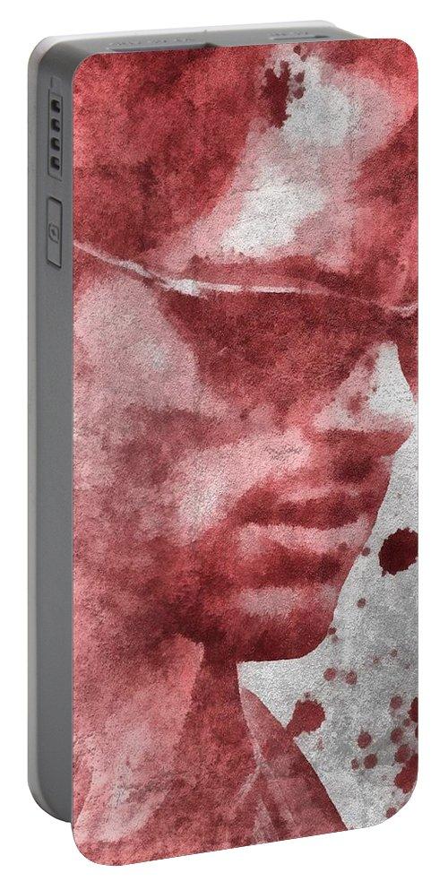 Cyclops X Men Paint Splatter Portable Battery Charger featuring the painting Cyclops X Men Paint Splatter by Dan Sproul