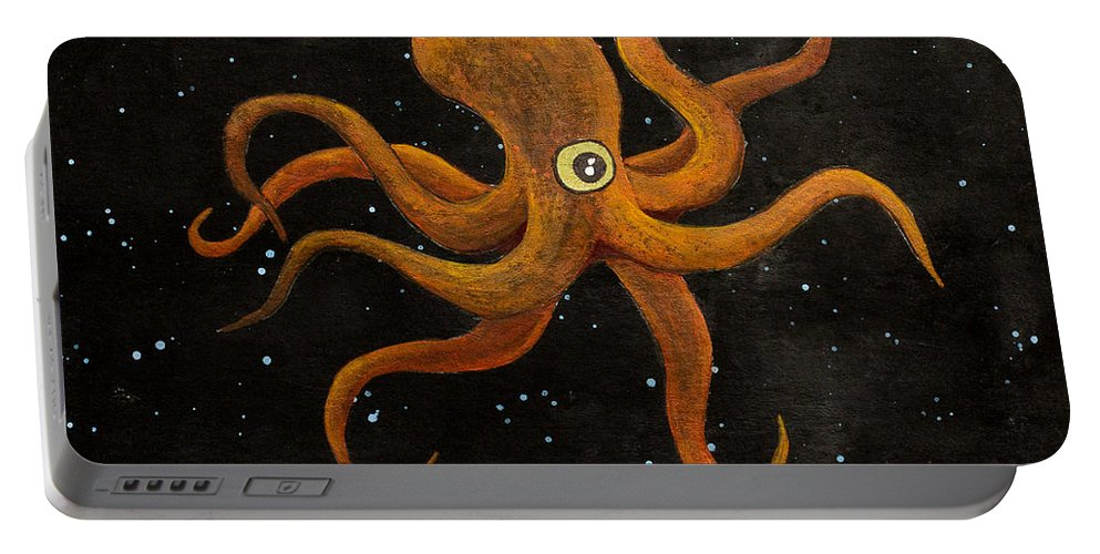 Portable Battery Charger featuring the painting Cycloptopus Black by Stefanie Forck