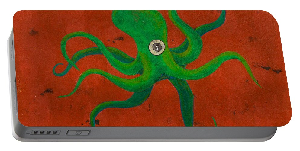 Portable Battery Charger featuring the painting Cycloptopus Red by Stefanie Forck