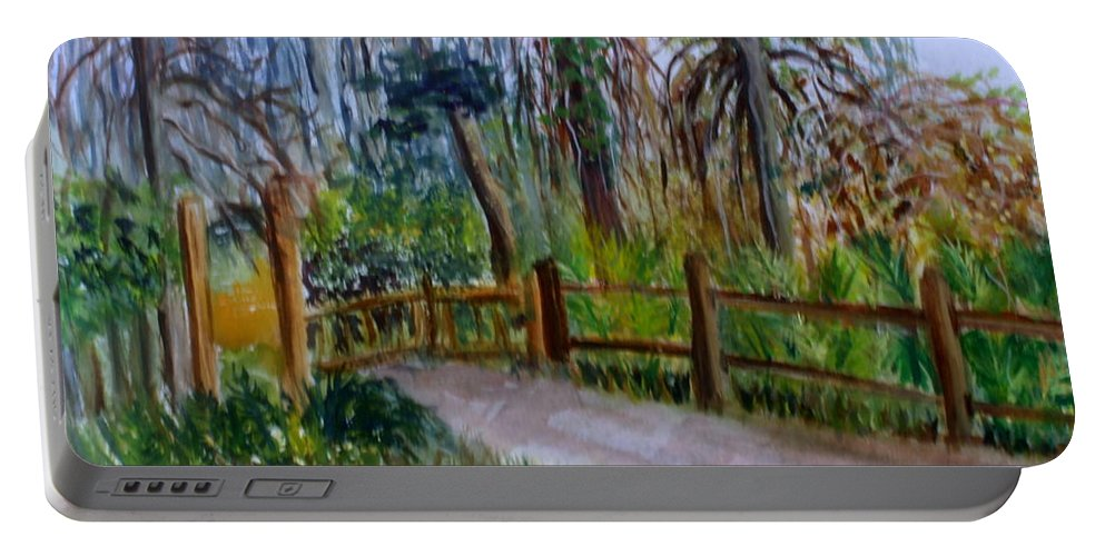 Plein Air Artists Portable Battery Charger featuring the painting Cypress Trail At Loxahatchee by Donna Walsh