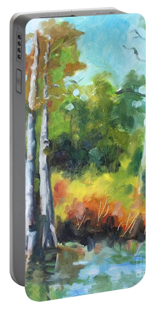 Nature Portable Battery Charger featuring the painting Cypress Trees by Jan Bennicoff