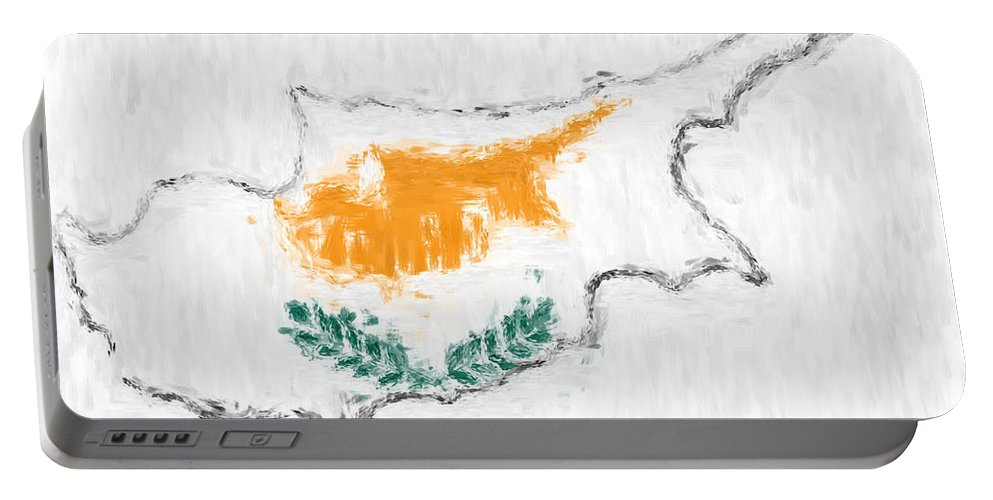 Cyprus Portable Battery Charger featuring the photograph Cyprus Painted Flag Map by Antony McAulay