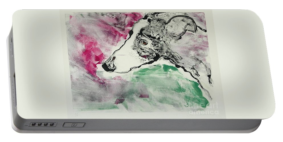 Greyhound Portable Battery Charger featuring the painting Cyrus by Cori Solomon