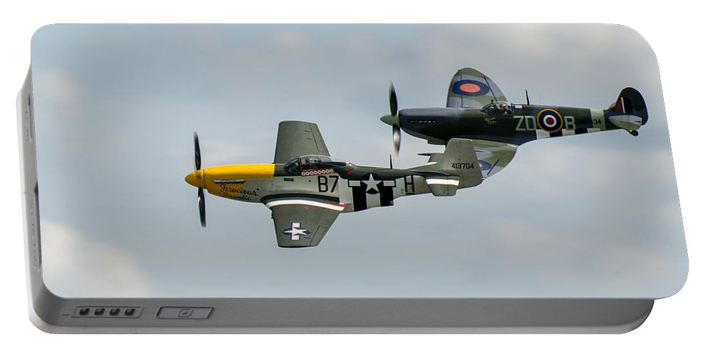 D-day Portable Battery Charger featuring the photograph D-day Airshow Duo Spitfire And Mustang by Gary Eason