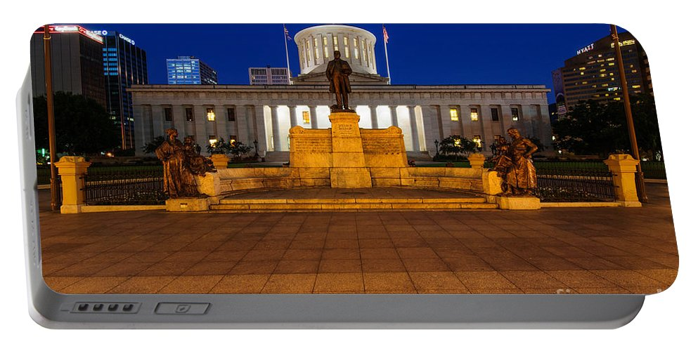Ohio Portable Battery Charger featuring the photograph D13l112 Ohio Statehouse Photo by Ohio Stock Photography