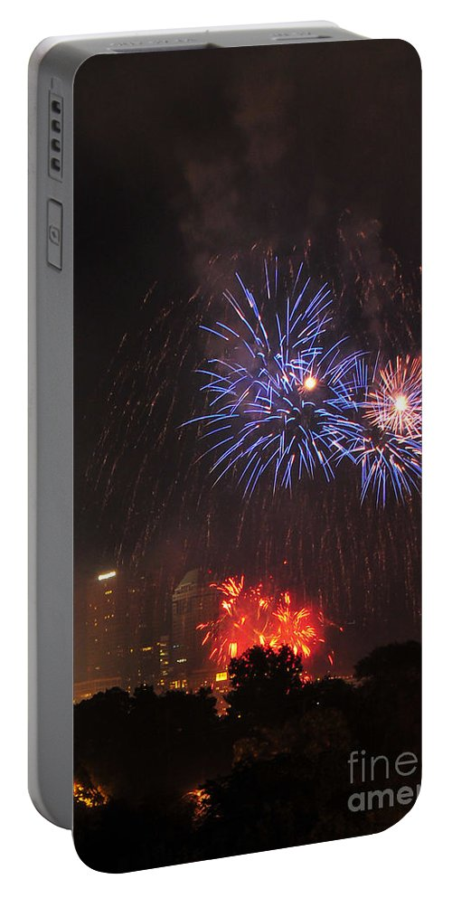 Red White And Boom Portable Battery Charger featuring the photograph D21l163 Red White And Boom Photo by Ohio Stock Photography