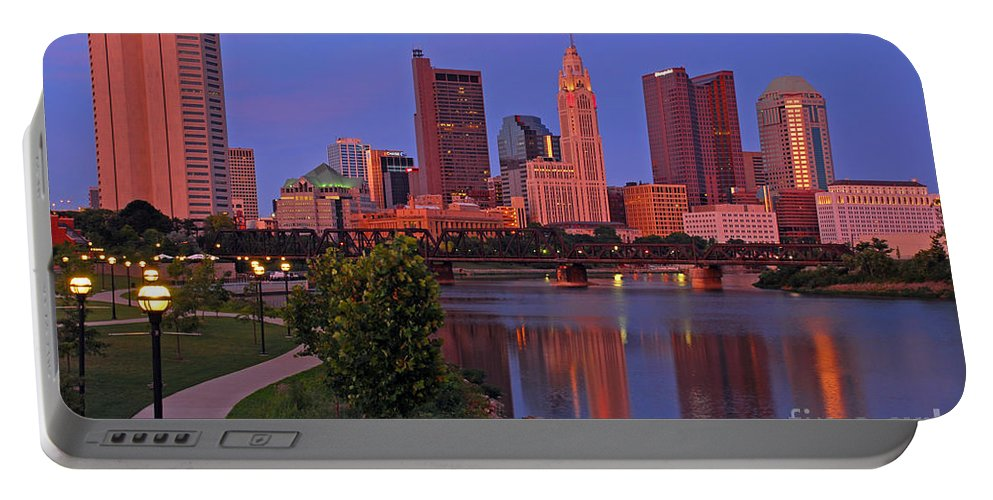 Columbus Portable Battery Charger featuring the photograph D2l38 Columbus Ohio Skyline Photo by Ohio Stock Photography