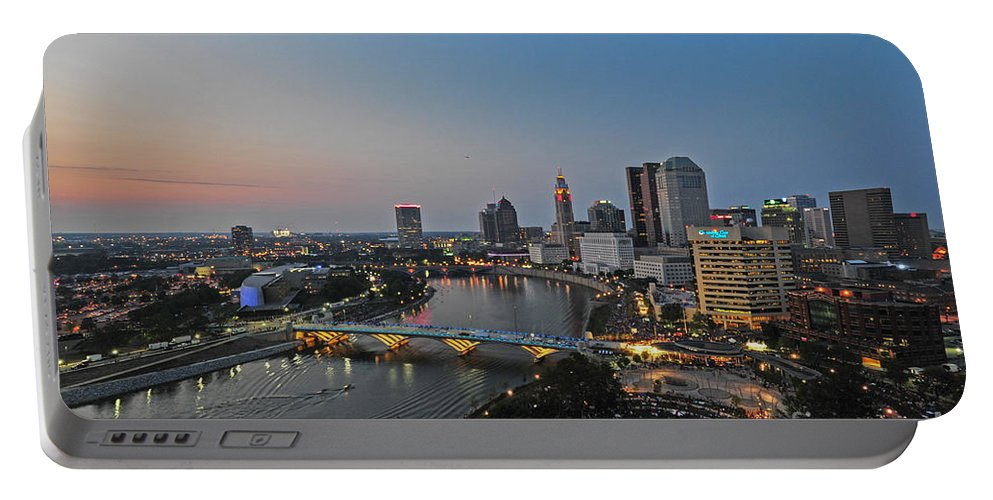 Columbus Portable Battery Charger featuring the photograph D2l448 Columbus Ohio Night Skyline Photo by Ohio Stock Photography