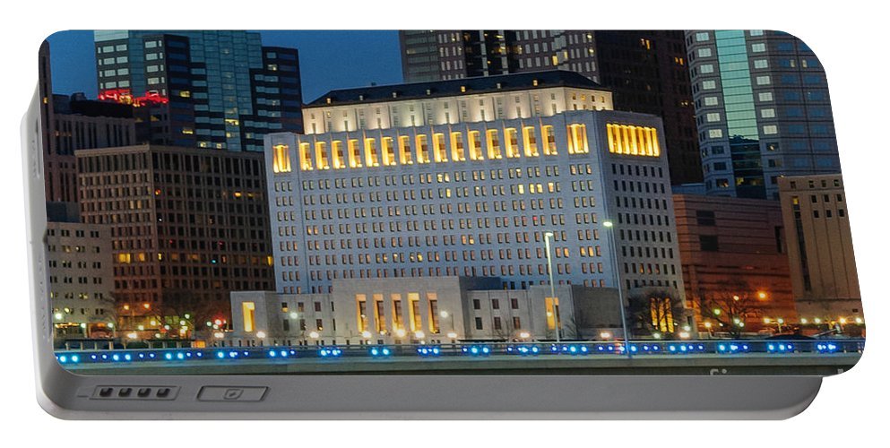 Columbus Portable Battery Charger featuring the photograph D2l496 Columbus Ohio Night Skyline by Ohio Stock Photography