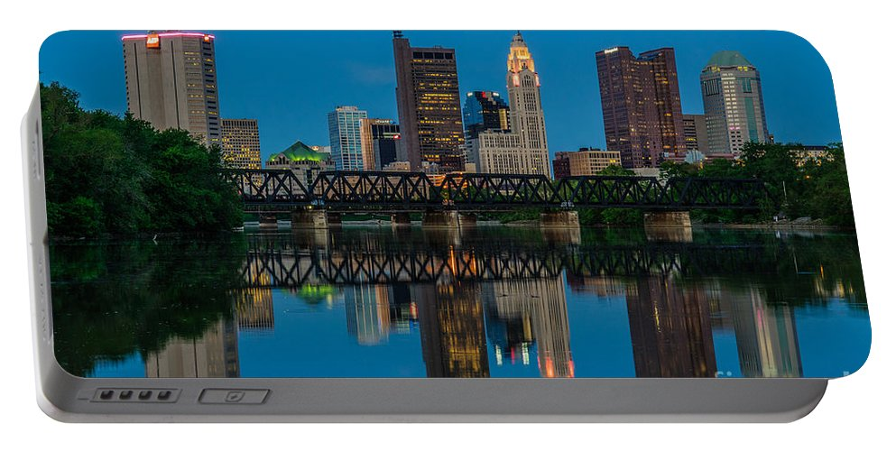 Columbus Portable Battery Charger featuring the photograph D2l64 Columbus Ohio Skyline by Ohio Stock Photography